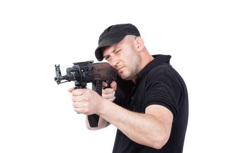 glock: Man pointing AK-47 machine gun, isolated on white