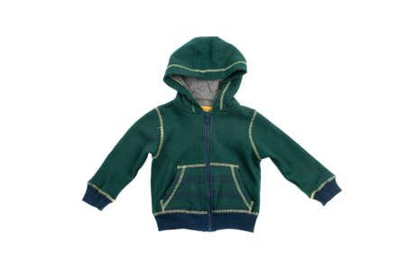 hooded sweatshirt: Green hooded sweatshirt, isolated on white