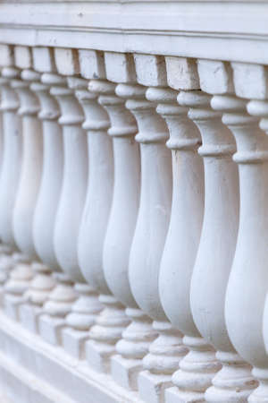 decorative balcony: Old stone balustrade in perspective.Shallow depth of field. Architecture detail