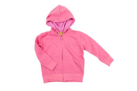 sweatshirt: sudadera con capucha de color rosa, aislado en blanco Foto de archivo