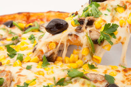 melted cheese: Hot Pizza with melted cheese Stock Photo
