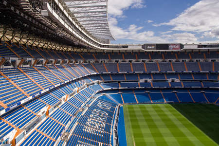 santiago: MADRID, SPAIN - MAY 14, 2009: Santiago Bernabeu Stadium of Real Madrid on May 14, 2009 in Madrid, Spain. Real Madrid C.F. was established in 1902. It is the best club of XX century according to FIFA. Editorial