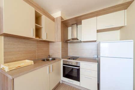 kitchen appliances: New wooden kitchen interior with appliances.
