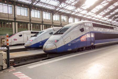 france station: PARIS, FRANCE - APRIL 14, 2015: TGV high speed french train in gare de Lyon station on April 14 , 2015 in Paris, France