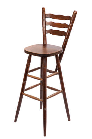 bar stool: Old wooden bar stool, isolated on white Stock Photo