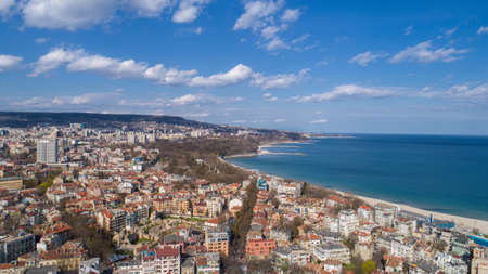 Beautiful cityscape over Varna city, Bulgaria. Panoramic aerial view. Standard-Bild