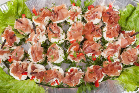 Party platter of sandwiches. Catering food. Top view