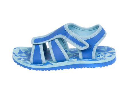 Blue childrens sandal, isolated on white background Stock Photo