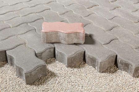 pedestrian path with paver bricks. Sidewalk pavement Standard-Bild