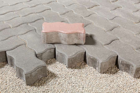 pedestrian path with paver bricks. Sidewalk pavement Stock Photo