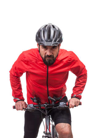 Portrait of  bicyclist with helmet and red jacket, riding a bicycle, isolated on white Stock Photo