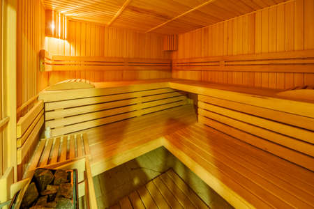Standard wooden sauna room interior