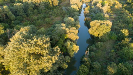 Aerial view of river and beautiful  forest. Kamchia River in Bulgaria Stock Photo