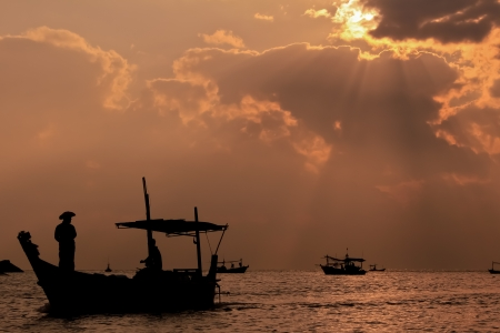 Fishing boat in thai sea, Thailand photo
