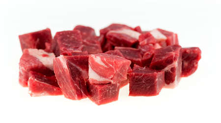 Closeup macro of marbeled, uncooked lamb and mutton isolated against a white background Stockfoto
