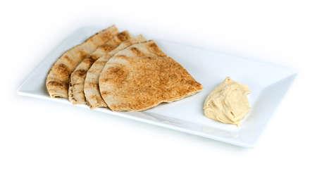 lebanese food: Whole wheat pita with hummus Stock Photo