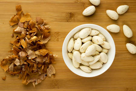 blanch: Bowl of almonds that have been soaked in water then skinned.