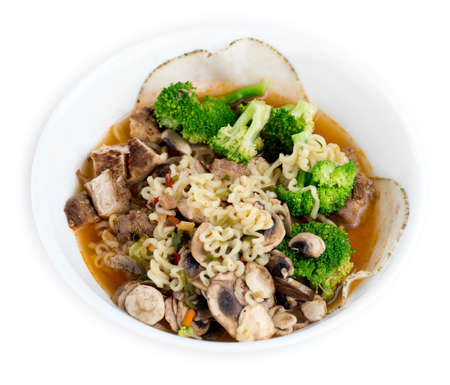 Chicken, broccoli, mushroom and sliced meat enhanced Japanese ramen photo