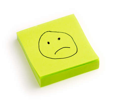 unhappiness: Isolated sadness or unhappiness note against white Stock Photo