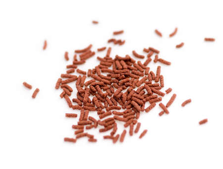 Bloodworm fish food against a white background photo