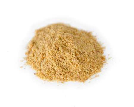 flaxseed: Ground flaxseed powder in a pile Stock Photo