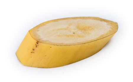 Closeup slice of unpeeled natural Australian yellow banana photo