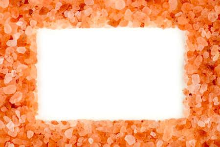 himalayan salt: Stylish himalayan rock salt frame with aerial white copyspace Stock Photo