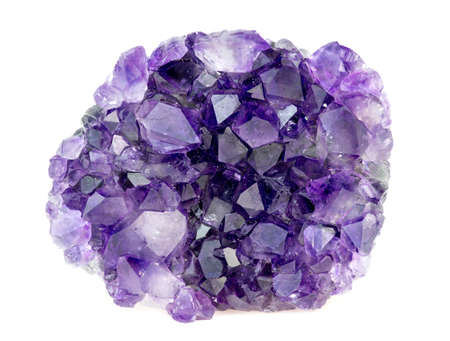 Beautiful natural purple amethyst geode crystals gemstone isolated on white