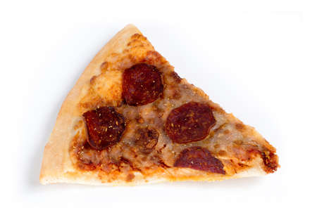 stale: Old stale pizza slice isolated against white Stock Photo
