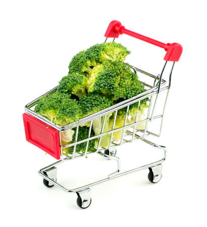 florets: Broccoli florets in shopping cart Stock Photo