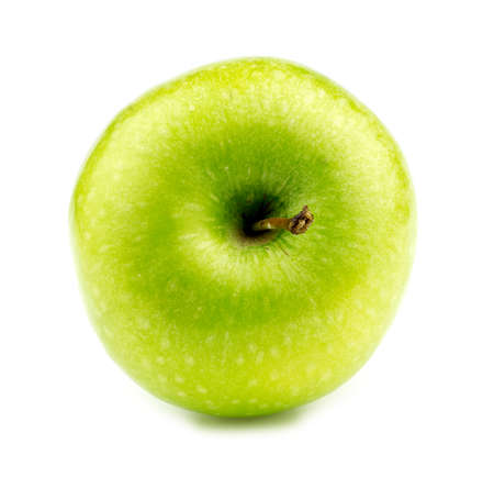 granny smith: Granny smith apple lying on its side