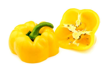 pimiento: Yellow pepper isolated and cut