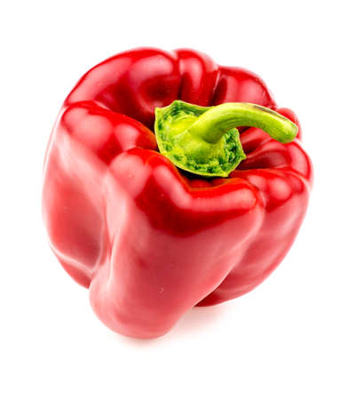 bell peper: Isolated macro of juicy and plump red pepper