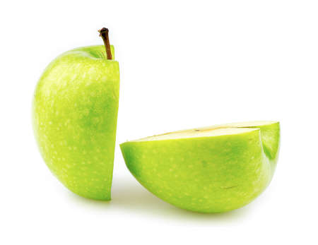 granny smith: Granny smith apple cut in half