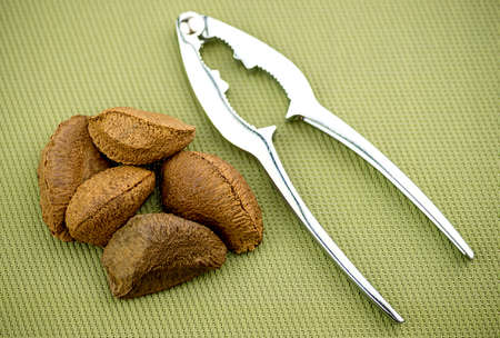 hard core: Brazil nuts with nut cracker on textured background