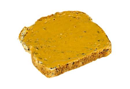 whole wheat: Isolated whole wheat peanut butter toast breakfast