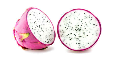 flesh colour: Dragon fruit cut in half isolated on white