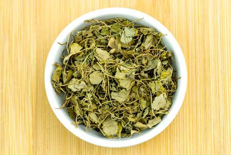 methi: Aerial of dehydrated fenugreek methi herb