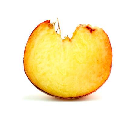 super cross: S�per primer macro de la secci�n transversal de la vibrante rosquilla fruta del melocot�n