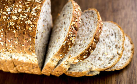 Macro closeup of delicious whole wheat bread photo