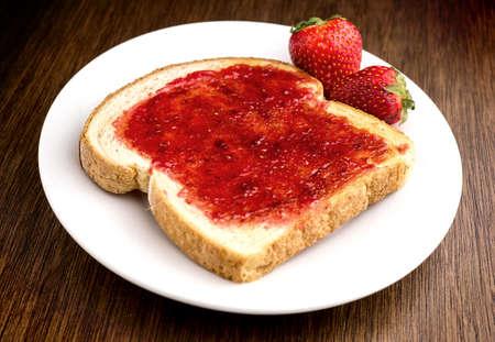 Strawberry jam on toast photo