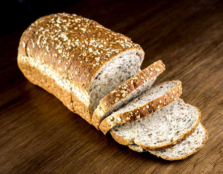 slices of bread: Whole wheat bread loaf