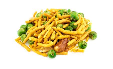 punjabi: Isolated shot of Indian Punjabi bhuja snack against a white background