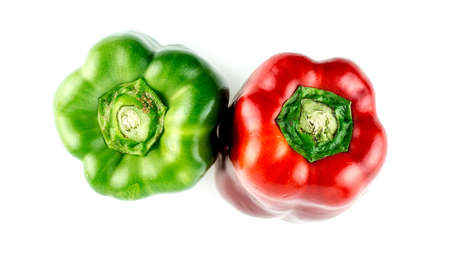 pimiento: Ripe, colorful peppers, red and green, isolated