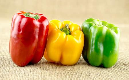 capsicum: Red, yellow and green capsicum