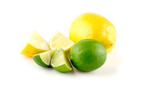diced: Diced lemons and limes, isolated against white
