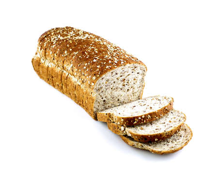 whole wheat bread: Whole wheat bread isolated on white Stock Photo