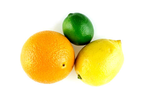 triad: Triad of citrus fruits, with orange, lime and lemons