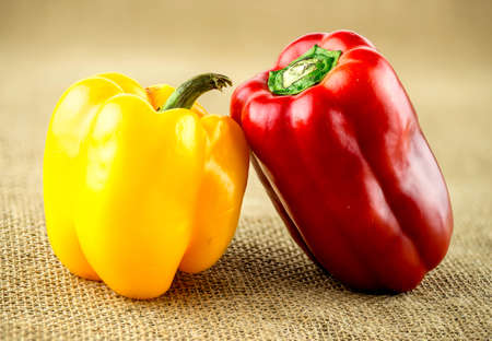 organic peppers: Farm fresh, organic peppers on rustic background
