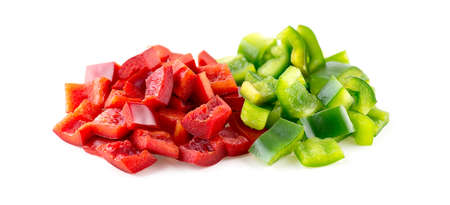 pimiento: Closeup of chopped up capsicum veggies on white
